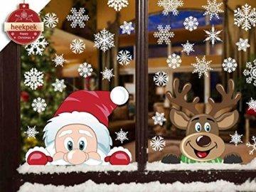 Heekpek Schneeflocken Fensterdeko Fensterbilder für Weihnachten Winter Dekoration Türen Schaufenster Vitrinen Glasfronten Schneeflocke Fensteraufkleber Spähen des Weihnachtsmanns Weihnachtselche - 1