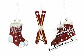 HEITMANN DECO Christbaumschmuck aus Holz - Verschiedene Motive zum Aufhängen - Weihnachtsbaumschmuck Weihnachtsdeko - 6-teilig Bordeaux, Weiß - 3