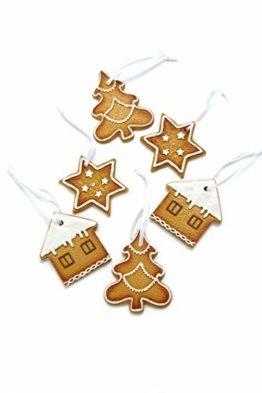 HEITMANN DECO Christbaumschmuck Lebkuchen mit Zuckerguss - Verschiedene Motive Weihnachtsdeko - 6-teilig - 1