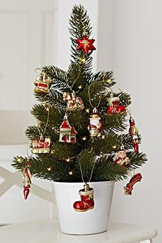 HEITMANN DECO Weihnachtsbaum-Schmuck - Behang-Set aus Kunststoff - Christbaum-Anhänger - 12-teilig - rot/Gold - 2