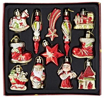 HEITMANN DECO Weihnachtsbaum-Schmuck - Behang-Set aus Kunststoff - Christbaum-Anhänger - 12-teilig - rot/Gold - 1