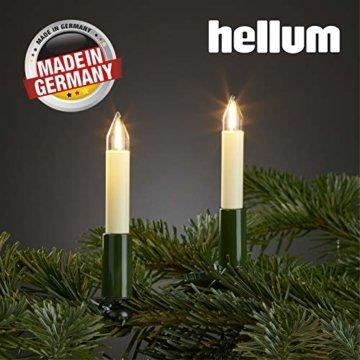 Hellum Lichterkette innen / 15 Filament warm-weiß Schaftkerzen/Länge 9,8 m + 2x1,5 m Zuleitung, schwarzes Gummi-Kabel/Fassungsabstand 70 cm/teilbarer Stecker/Weihnachten / 804157 - 1