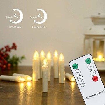 Hengda 30er LED Kerzen Dimmbar Weihnachtskerzen Kerzenlichter Flammenlose für Weihnachtsbaum, Weihnachtsdeko, Hochzeit, Geburtstags, Party, Warmweiß - 2