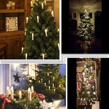 Hengda 30er LED Weihnachtskerzen mit Fernbedienung Timer Warmweiß Dimmbar Kerzen mit Batterien Weihnachtskerzen Christbaumkerzen Kabellos - 3