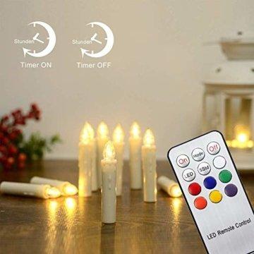 Hengda 40 Stück LED Weihnachtskerzen mit Fernbedienung RGB Kerzen Lichterkette Christbaumkerzen Kabellos LED Kerzenlichter Weihnachts - 4