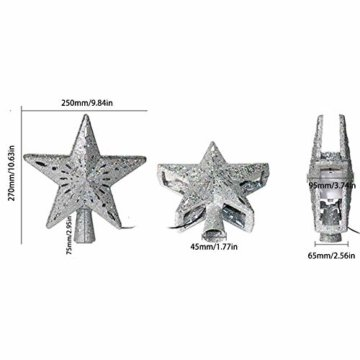 Heoolstranger Christmas Tree Topper - Weihnachtsbaum-Sternspitzen-Licht - funkelnder Stern mit Schneeflocken-Projektions-Licht - Weihnachtsbaum-Dekoration - 2