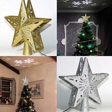 Heoolstranger Christmas Tree Topper - Weihnachtsbaum-Sternspitzen-Licht - funkelnder Stern mit Schneeflocken-Projektions-Licht - Weihnachtsbaum-Dekoration - 3