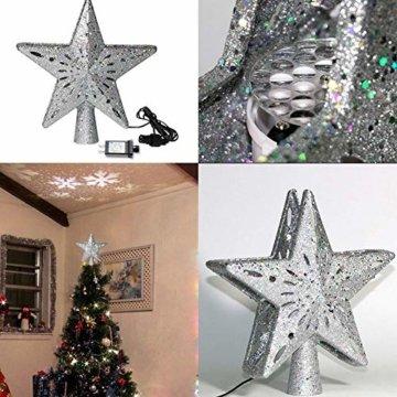 Heoolstranger Christmas Tree Topper - Weihnachtsbaum-Sternspitzen-Licht - funkelnder Stern mit Schneeflocken-Projektions-Licht - Weihnachtsbaum-Dekoration - 4