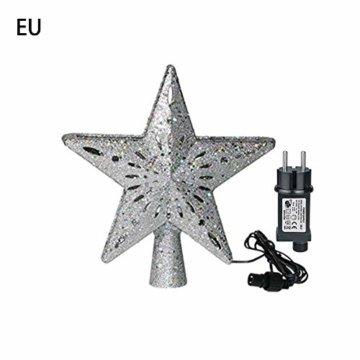 Heoolstranger Christmas Tree Topper - Weihnachtsbaum-Sternspitzen-Licht - funkelnder Stern mit Schneeflocken-Projektions-Licht - Weihnachtsbaum-Dekoration - 1
