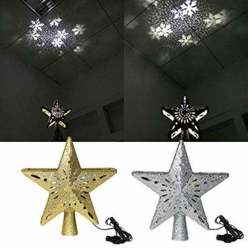 Heoolstranger Christmas Tree Topper - Weihnachtsbaum-Sternspitzen-Licht - funkelnder Stern mit Schneeflocken-Projektions-Licht - Weihnachtsbaum-Dekoration - 6