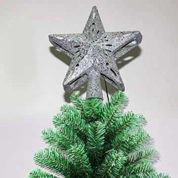 Heoolstranger Christmas Tree Topper - Weihnachtsbaum-Sternspitzen-Licht - funkelnder Stern mit Schneeflocken-Projektions-Licht - Weihnachtsbaum-Dekoration - 7