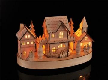 HI Beleuchtete Weihnachtsstadt ca. 28 cm Deko für Weihnachten LED Beleuchtung - 4