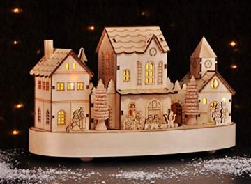 HI Beleuchtete Weihnachtsstadt ca. 28 cm Deko für Weihnachten LED Beleuchtung - 8