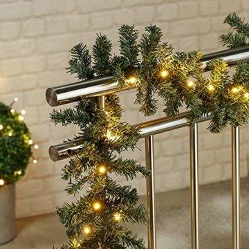 HI Tannengirlande aussen 270 cm - Grüne Girlande mit Lichterkette (40x LED), weihnachtliche Girlande mit Licht als Weihnachtsdeko aussen - 3