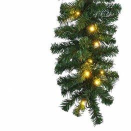 HI Tannengirlande aussen 270 cm - Grüne Girlande mit Lichterkette (40x LED), weihnachtliche Girlande mit Licht als Weihnachtsdeko aussen - 1