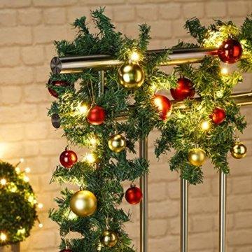 HI Tannengirlande aussen 5m - Grüne Girlande mit Lichterkette (80x LED), 5 Meter Girlande mit Licht und Kugeln als Weihnachtsdeko aussen - 2