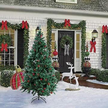 Homfa 195cm Künstlicher Weihnachtsbaum Tannenbaum Christbaum Weihnachten Dekoration mit Tannenzapfen und rote Beere Deko Grün 195x75x85cm - 3