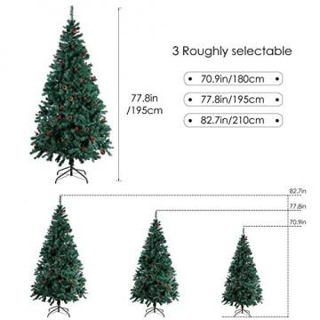 Homfa 195cm Künstlicher Weihnachtsbaum Tannenbaum Christbaum Weihnachten Dekoration mit Tannenzapfen und rote Beere Deko Grün 195x75x85cm - 4