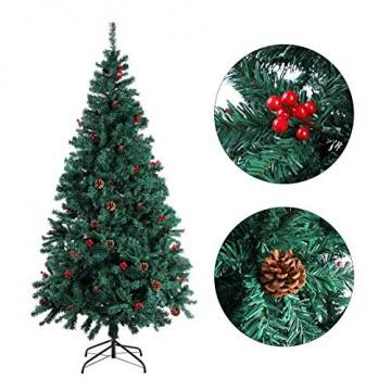 Homfa 195cm Künstlicher Weihnachtsbaum Tannenbaum Christbaum Weihnachten Dekoration mit Tannenzapfen und rote Beere Deko Grün 195x75x85cm - 5