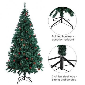 Homfa 195cm Künstlicher Weihnachtsbaum Tannenbaum Christbaum Weihnachten Dekoration mit Tannenzapfen und rote Beere Deko Grün 195x75x85cm - 6