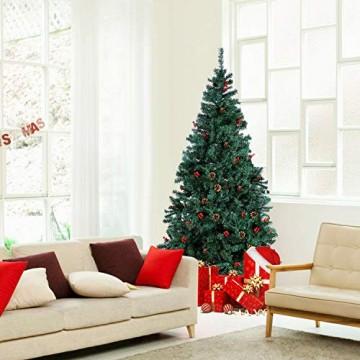 Homfa 195cm Künstlicher Weihnachtsbaum Tannenbaum Christbaum Weihnachten Dekoration mit Tannenzapfen und rote Beere Deko Grün 195x75x85cm - 7