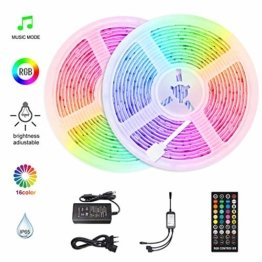 HoMii LED Streifen 10m - RGB LED Strips Sync mit Musik, IP65 Wasserdicht 300 LED 5050 SMD Farbwechsel LED Strip, 40 key Fernbedienung,16 single colors (10M) - 1