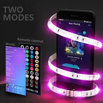 HoMii LED Streifen 10m - RGB LED Strips Sync mit Musik, IP65 Wasserdicht 300 LED 5050 SMD Farbwechsel LED Strip, 40 key Fernbedienung,16 single colors (10M) - 5