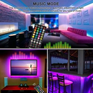 HoMii LED Streifen 10m - RGB LED Strips Sync mit Musik, IP65 Wasserdicht 300 LED 5050 SMD Farbwechsel LED Strip, 40 key Fernbedienung,16 single colors (10M) - 7