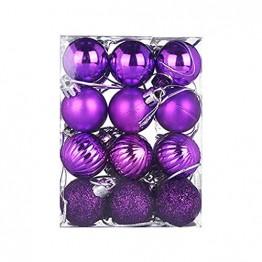 HOUMENGO 24 Weihnachtskugeln Baumschmuck, Christbaumkugeln aus Kunststof, Christbaumschmuck Weihnachten Anhänger Deko modisch Glänzend Bruchsiche Weihnachtskugeln (24 Stück, Lila) - 1