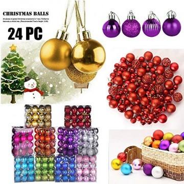 HOUMENGO 24 Weihnachtskugeln Baumschmuck, Christbaumkugeln aus Kunststof, Christbaumschmuck Weihnachten Anhänger Deko modisch Glänzend Bruchsiche Weihnachtskugeln (24 Stück, Lila) - 4