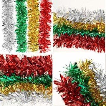 HOWAF 8 Stück 14m Weihnachten Lametta Girlande Metallisch Lametta Girlande Weihnachtsbaum Lametta für Weihnachten Dekoration, Rot, Silber, Gold, Grün - 2