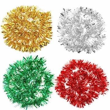 HOWAF 8 Stück 14m Weihnachten Lametta Girlande Metallisch Lametta Girlande Weihnachtsbaum Lametta für Weihnachten Dekoration, Rot, Silber, Gold, Grün - 3