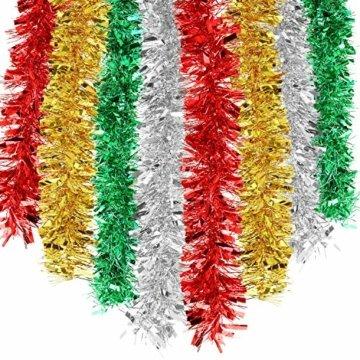 HOWAF 8 Stück 14m Weihnachten Lametta Girlande Metallisch Lametta Girlande Weihnachtsbaum Lametta für Weihnachten Dekoration, Rot, Silber, Gold, Grün - 1
