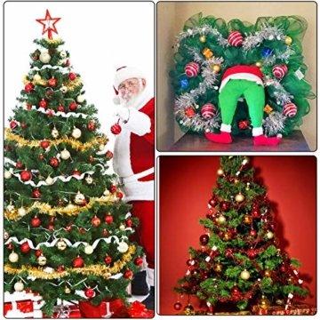 HOWAF 8 Stück 14m Weihnachten Lametta Girlande Metallisch Lametta Girlande Weihnachtsbaum Lametta für Weihnachten Dekoration, Rot, Silber, Gold, Grün - 5