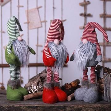 HSKB Weihnachten Deko Plüsch Handgemachte Schwedische Wichtel Santa Dolls Süße Weihnachten Puppen Figur aus Weihnachtsfigur Dwarf Schöneren Weihnachts Deko Urlaub Dekoration Kinder Geschenke (Grün) - 2