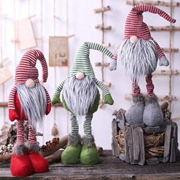 HSKB Weihnachten Deko Plüsch Handgemachte Schwedische Wichtel Santa Dolls Süße Weihnachten Puppen Figur aus Weihnachtsfigur Dwarf Schöneren Weihnachts Deko Urlaub Dekoration Kinder Geschenke (Grün) - 3