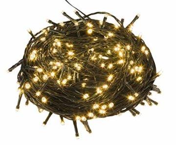 Idena 30441 - LED Lichterkette mit 300 LED in warm weiß, mit 8 Stunden Timer Funktion, Innen und Außenbereich, für Partys, Weihnachten, Deko, Hochzeit, als Stimmungslicht, ca. 37,9 m - 3