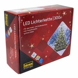 Idena 30441 - LED Lichterkette mit 300 LED in warm weiß, mit 8 Stunden Timer Funktion, Innen und Außenbereich, für Partys, Weihnachten, Deko, Hochzeit, als Stimmungslicht, ca. 37,9 m - 1