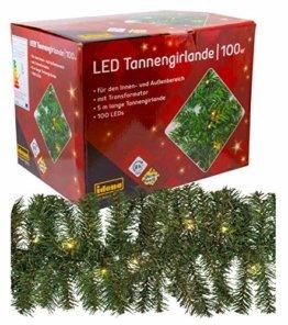 Idena 31814 LED Tannengirlande mit 100 LED warm weiß, ca. 25 cm x 5 m (ohne Draht) - 1