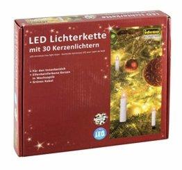 Idena 38192 - LED Kerzenlichterkette mit 30 LED in warm weiß, 30 Kerzen mit Klemmen, perfekt für den Weihnachtsbaum, ca. 16 m - 1