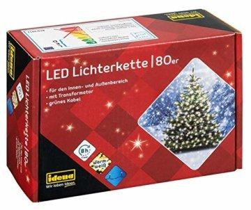 Idena 8325058 - LED Lichterkette mit 80 LED in warm weiß, mit 8 Stunden Timer Funktion, Innen und Außenbereich, für Partys, Weihnachten, Deko, Hochzeit, als Stimmungslicht, ca. 15,9 m - 1
