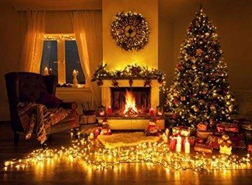 Idena 8325066 - LED Lichterkette mit 200 LED in warm weiß, mit 8 Stunden Timer Funktion, Innen und Außenbereich, für Partys, Weihnachten, Deko, Hochzeit, als Stimmungslicht, ca. 27,9 m - 3