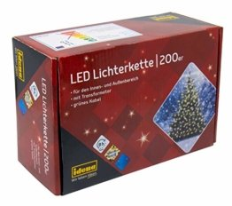 Idena 8325066 - LED Lichterkette mit 200 LED in warm weiß, mit 8 Stunden Timer Funktion, Innen und Außenbereich, für Partys, Weihnachten, Deko, Hochzeit, als Stimmungslicht, ca. 27,9 m - 1