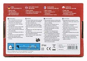 Idena 8325066 - LED Lichterkette mit 200 LED in warm weiß, mit 8 Stunden Timer Funktion, Innen und Außenbereich, für Partys, Weihnachten, Deko, Hochzeit, als Stimmungslicht, ca. 27,9 m - 5