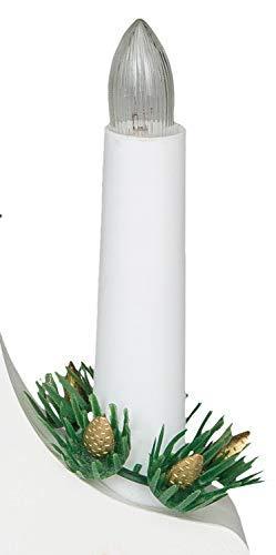 Idena 8582067 - Adventsleuchter aus weiß lackiertem Holz mit 7 Kerzenlichtern, inklusive Ersatzlampe, Anschlusskabel mit Schalter, ca. 40 x 30 cm - 3