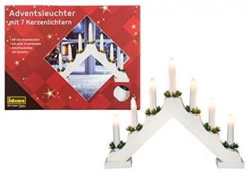Idena 8582067 - Adventsleuchter aus weiß lackiertem Holz mit 7 Kerzenlichtern, inklusive Ersatzlampe, Anschlusskabel mit Schalter, ca. 40 x 30 cm - 1