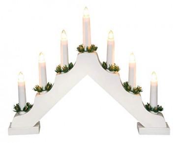 Idena 8582067 - Adventsleuchter aus weiß lackiertem Holz mit 7 Kerzenlichtern, inklusive Ersatzlampe, Anschlusskabel mit Schalter, ca. 40 x 30 cm - 5