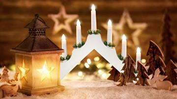 Idena 8582067 - Adventsleuchter aus weiß lackiertem Holz mit 7 Kerzenlichtern, inklusive Ersatzlampe, Anschlusskabel mit Schalter, ca. 40 x 30 cm - 7