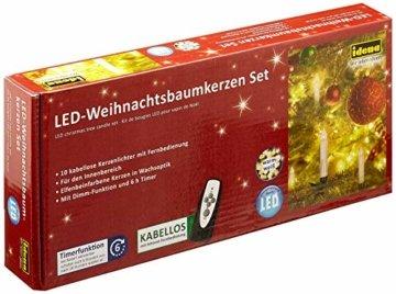 Idena 8582090 - 10 Stück LED Christbaumkerzen zum Klemmen, warm weiß, ca. 9 cm, mit Dimmer und 6 Stunden Timer Funktion, Batterie betrieben, mit Fernbedienung - 1