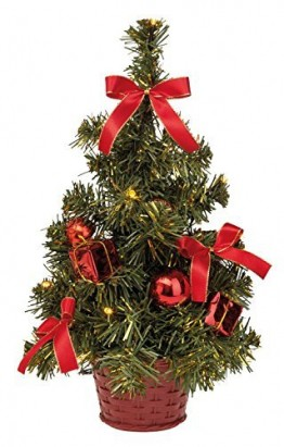 Idena 8582154 - Deko Tannenbaum mit 10 LED warm weiß, mit 6 Stunden Timer Funktion, Batterie betrieben, für Weihnachten, Advent, als Stimmungslicht, Christbaum, ca. 35 cm - 1
